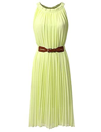 Bohemian Queen Pleated Halter Empire Waist Chiffon Maxi Dress With Plus Size YELLOW M