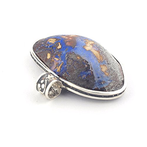 Boulder Opal pendant oval-shaped and brown blue color framed in sterling silver and size of 0.67x1.02x0.28 inch (Opal Oval Shaped Pendant)