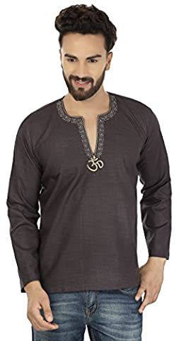 Cotton Mens Short Kurta Embroidered Dress India Clothing (Carbon Black,