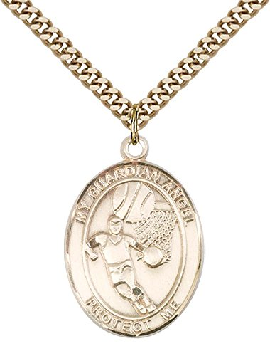 - 14kt Gold Filled Guardian Angel/Basketball Pendant with 24