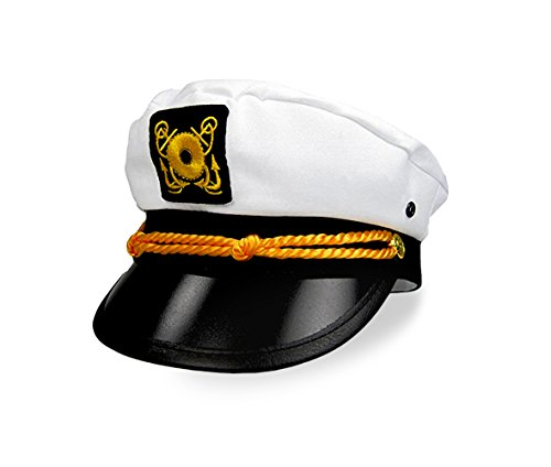 Big Mo's Toys Adult Yacht Captain Hat; Halloween, Masquerade Dress Up Costume Party Cap, One Size -