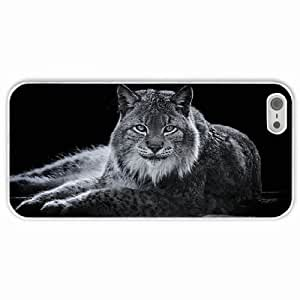 Personalized Apple iPhone 5 5S Back Diy PC Hard Shell Case Lynx White