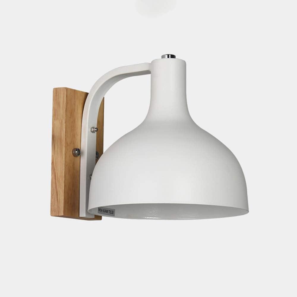 Aplique moderno Iluminación interior en madera/hierro Lámpara de pared E27 blanca Dormitorio de guardería Mesita de noche lámpara de lectura Lámpara decorativa, 19 * 24.5 * 19cm: Amazon.es: Iluminación