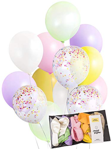 - Pastel Color Confetti Balloons (0.11oz Thick Quality Balloons 20pk) for Wedding, Bridal Baby Shower, Icecream Birthday Party, Arch, Photobooth, Back drop - by TOKYO SATURDAY (Ice cream)