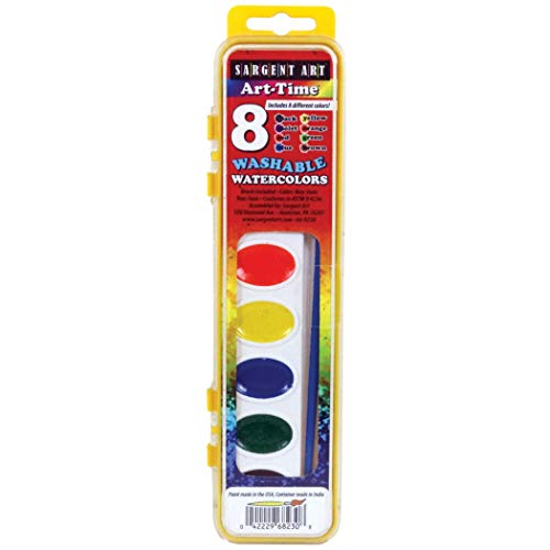 - Sargent Art SAR668230BN Art-Time Washable Watercolor Set, 8 Colors, Pack of 12