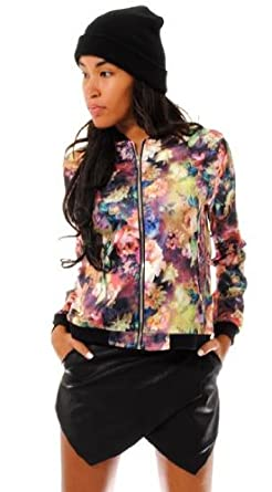 NEW WOMENS BOMBER JACKET MULTICOLOURED FLORAL BOMBER JACKET ZIP ...