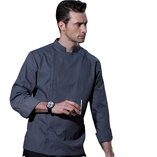 Long Sleeve Chef Coat with Concealed snap Front Placket in White Black and Grey