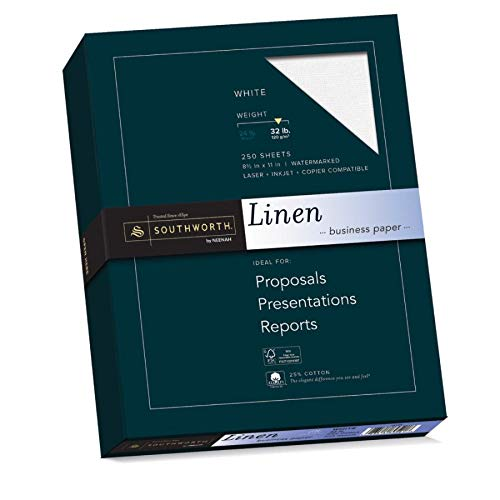 "Southworth 25% Cotton Business Paper, 8.5"" x 11"", 32 lb, Linen Finish, White, 250 Sheets (J558C) (Paper Southworth Resume Linen)"