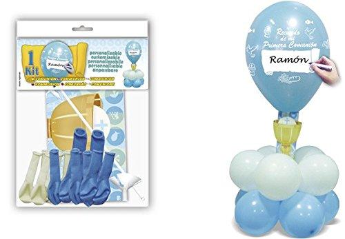DISOK - Deco Kit Centro Comunion Azul - Globos para Fiestas Comuniones Decorac