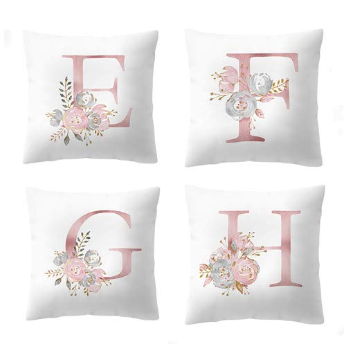 Throw Pillow Covers 26 Decorative English Letters Floral Pillowcases Velvet Soft Cushion Cover White Pillow Protectors for Sofa Bedding Car and Home Decor (18x18 / 45x45cm, Letter EFGH)
