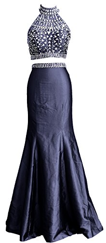 Neck MACloth Mermaid Long Prom Taffeta Two Women High Dunkelmarine Dress Formal Gown Piece nqq5Xxr