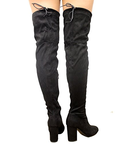 High Heel 3 Back Ladies STYLES SAUTE The Riding Boots 8 Knee Black Shoes Tie Thigh Stiletto Over Stretch Celeb BtAwqWa8w