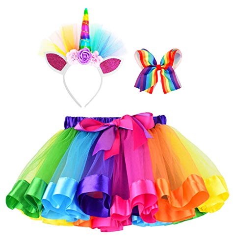 Simplicity Rainbow Tutu for Girls Layered Tulle Dress up Tutu Skirt Unicorn Headband Hair Bow]()