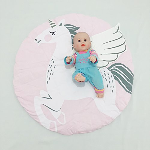 ((Diameter:38 inches) Circle,Round Cute Baby Play Mat, Adventure Carpet,Crawling Mat, Children's Room Decoration (Unicorn))