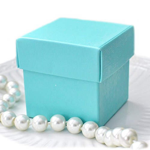 - Mini Square 2x2x2 Wedding Bridal Shower Favor Box with Lid (10 Count)- Robin Egg Blue