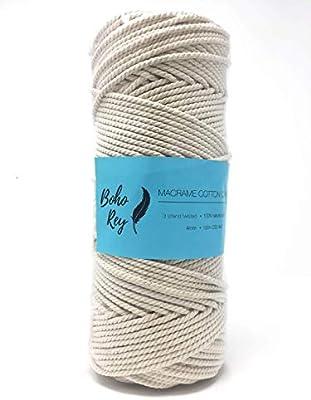 Cordón de algodón de macramé, 4 mm, 100 metros, 3 hebras trenzadas, cuerda de algodón 100% natural para macramé, colgadores de plantas y colgar en la pared y otros proyectos de manualidades: Amazon.es: Hogar