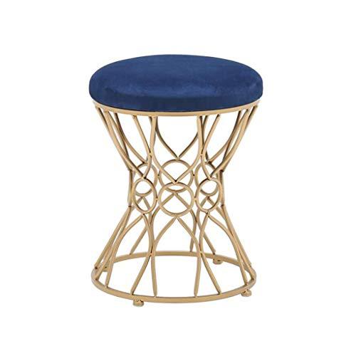 HOME LIFES Stool Iron Small Stool Cloth Sofa Stool Shoe Bench Modern Makeup Chair Vanity Stool (Color : Dark Blue)