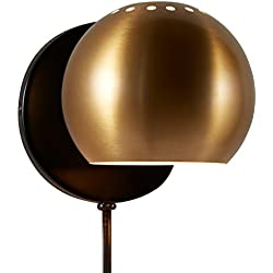 "Rivet Gold Metal Plug-in Wall Sconce Light, 7""H, Gold Metal"