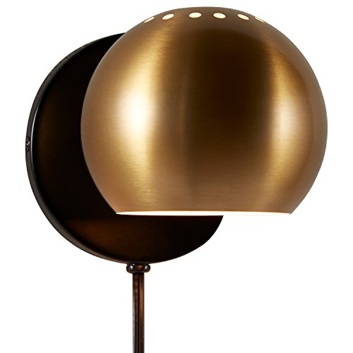 Rivet Gold Metal Plug-In Wall Sconce Light, 7