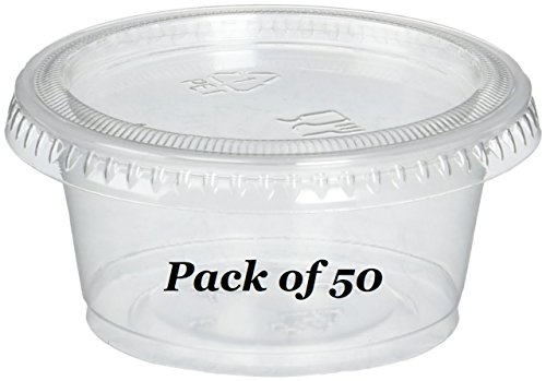 Reditainer - Plastic Disposable Portion Cups - Jello Shot Cup - The Perfect Souffle Cup (2 Ounce, Package of 50 Cups With Lids) (1 Glass Oz)