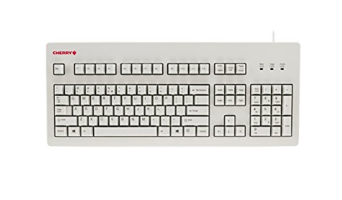 CHERRY MX Board Silent Keyboard - White - Silent MX Switch - 104 Key Layout - USB - Retro Look