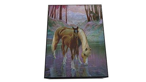 Amish Made Foil Horses Cedar Chest Box, 6