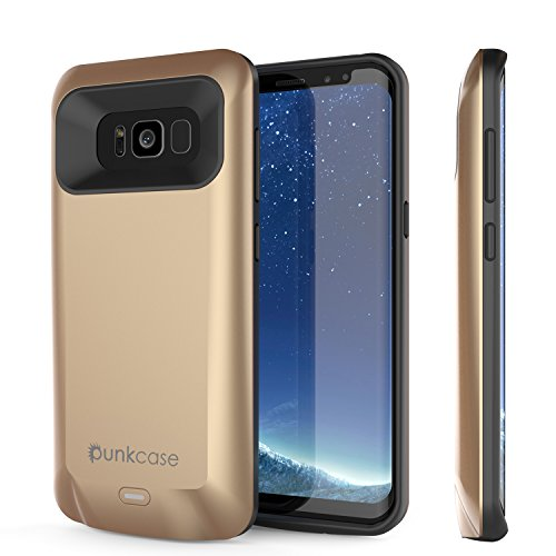 Galaxy S8 Battery Case, PunkJuice 5000mAH Fast Charging Power Bank W/ Screen Protector | Integrated USB Port | IntelSwitch | Slim, Secure and Reliable | Suitable for Samsung Galaxy S8 [Gold]