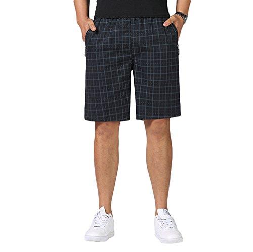 Elastic Waist Plaid Shorts - Liveinu Men's Casual Cargo Shorts Elastic Waist Plaid Short Big and Tall Black 2XL