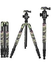 Neewer 2-in-1 Kohlefaser Kamera Stativ Einbeinstativ 67 Zoll Arme Grün mit 360 Grad Kugelkopf 1/4 Zoll QR Platte und Tragetasche für Canon Sony DSLR Kameras Video Camcorder