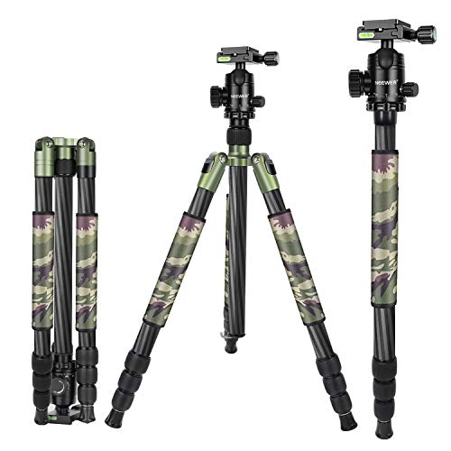 Neewer 2-in-1 Carbon Fiber Camera Tripod Monopod 67 inches/170 Centimeters Army Green with 360 Degree Ball Head