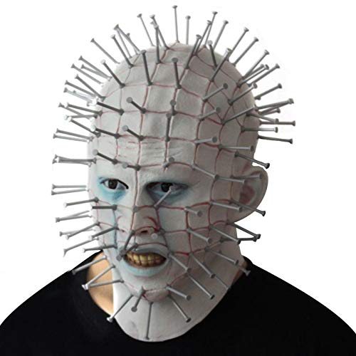 DHmart Horror Film Halloween Pinhead Mask Scary Hellraiser Latex Party Mask Grimace FunAdult Monster Thriller Cosplay Masquerade Mask -