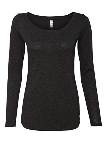 Next Level Womens Tri-Blend Long-Sleeve Scoop Tee 6731 -VINTAGE BLAC L