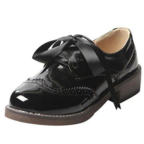 COOLCEPT Damen Casual Brogue Shoes Klassische Oxford Pumps Schnueren Schwarz