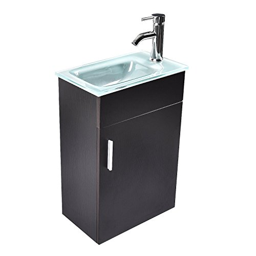 16 Inch Modern Bathroom Vanity Cabinet YOURLITE Wall Mounted Vanity and Sink Combo with Tempered Frosted Glass Vessel Sink, Chrome Faucet and Pop Up Drain