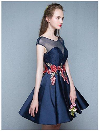 del Blu corta Pieghe manica merletto Scuro Emily Beauty corto del Vestito Fiore Bwq6vExF