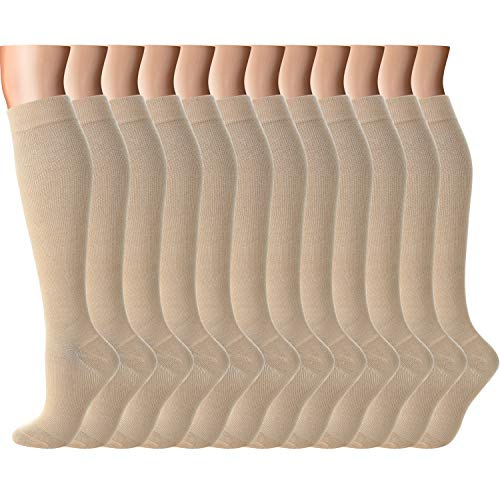Compression Socks Women Men 15-20 mmHg, 6/7/12-Pairs Mens Womens Athletic Sock for Dress,Running,Medical,Varicose Veins,Travel (Skin color-12 Pairs, S/M (US Women 5.5-8.5/US Men 5-9))