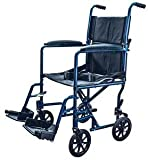 Aluminum Transport Chair Lightweight Wheelchair, 19'' (Blue)