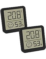 TFA Dostmann digitale thermo-hygrometer, set van 2, 30.5053.02, controleren van binnentemperatuur en luchtvochtigheid, klein en handzaam, voor staand of hangend, zwart, (L)46 x (B)13 x (H)43 mm