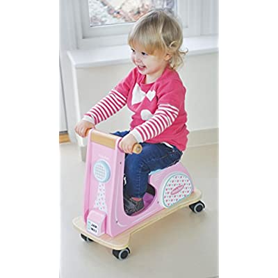 Indigo Jamm Wooden Jamm Scoot, Toy Ride-On Scooter with Retro Classic Design for Children Aged 12 Months Plus – Pink Racer: Toys & Games