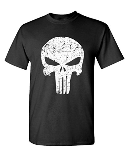 DISTRESSED PUNISHER SKULL mercenary liberty - Mens Cotton T-Shirt, L, Black
