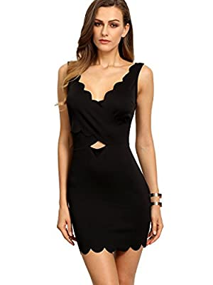 SheIn Women's V-Neck Sleeveless Hollow Backless Bodycon Dress