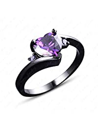 Gemstar Jewellery 14k Black Gold Finish Pure 925 Silver Women's Heart Promise Ring with Purple Amethyst