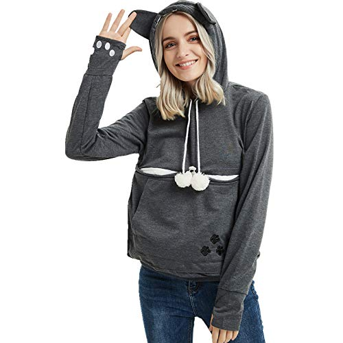 Womens Pet Carrier Shirts Kitten Puppy Holder Sweatshirt Animal Pouch Hood Tops Dark Grey