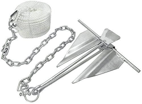 Extreme Max Silver 3006.6719 Complete Slip Ring Kit with Rope/Anchor Chain/Shackle-#10/5 lbs