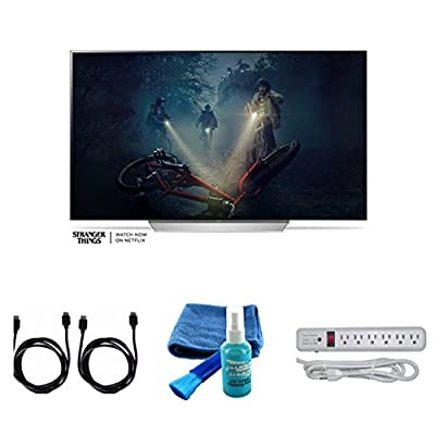"""2017 Model OLED65C7P Series C7 Class 65"""" 4K TV Bundle, 4K HDMI 2.0 Cable, Surge Protector, Cleaning cloth"""