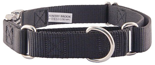 10-Country Brook Design Heavyduty Nylon Martingale w/Premium Buckle-Black-XL