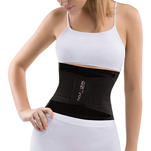 Slim Abs Slimming Waist Trainer Girdle Belt - Womens Workout Tummy Control Body Shaper Corset - Shapewear for a Slimmer Stomach (Black, S) (Hourglass Waist Trainer Corset)