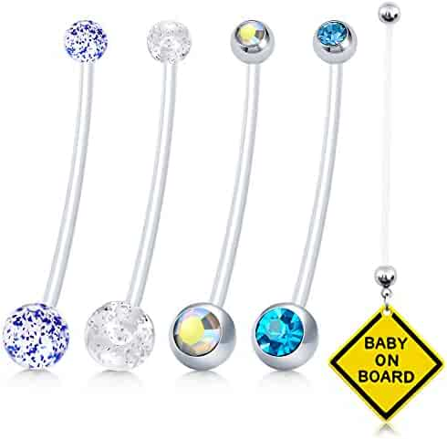 vcmart CZ Pregnancy Belly Button Rings 14G Sport Maternity Flexible Bioplast Pregnant Belly Navel Rings Retainer 1 1/2Inch Long Bar 5pcs
