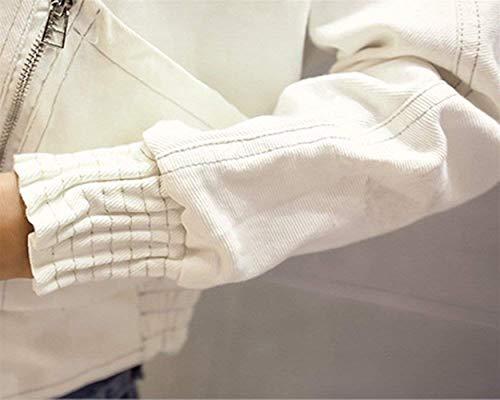 Fit Slim Ragazza Bavero Bianca Outerwear Lunga Cappotto Manica Solidi Casual Corto Colori Jeans Fashion Eleganti Giacca Giacche Primaverile Donna Autunno Denim IPpYAA