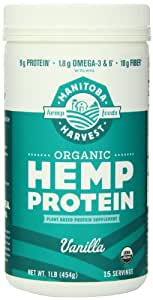 Manitoba Harvest Organic Hemp Protein Supplement, Vanilla, 16 Ounce